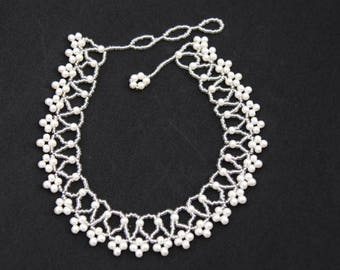 Pearl Collar, Gift for Her, Wedding Necklace, Mothers Day Gift, Flower Necklace, Pearl Necklace, Seed Bead Necklace, Bridal Necklace