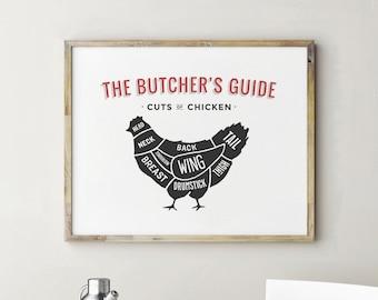 Printable Butcher Chart, Chicken Decor, Butcher Print, Chicken Cuts, Kitchen Decor, Kitchen Wall Decor, Kitchen Art, Kitchen Wall Art