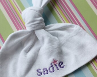 Personalized American Apparel Baby Knot Hat - Embroidered with a Star