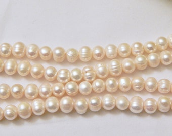 8-9mm Ringed FE Cultured Pearls White