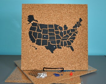 Push Pin Cork Travel Map of the United States / Wanderlust Travel Gift / USA Bulletin Board / US Corkboard