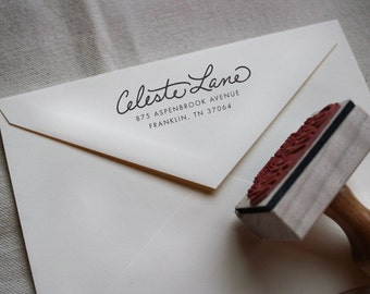 Custom Hand Written Calligraphy Stamp, Return Address, Wood Mounted Rubber Stamp with Handle or Self-Inking, Celeste Style