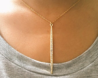 Long Spear Necklace, Pave Crystal Spear Necklace