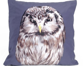 Owl Cushion - handmade printed silk cushion
