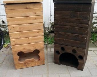 Wood Dog Toy Box / Wooden Dog Toys Storage Bin / Pet Toy Storage /  Handmade/ Pawprint Or Bone Shape / Dog Toy Storage /