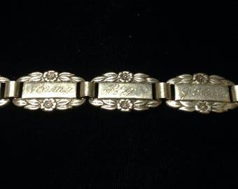 Antique Victorian Forget-Me-Not sterling silver knot link name bracelet