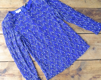 Vintage electric blue bead embellished long sleeve top