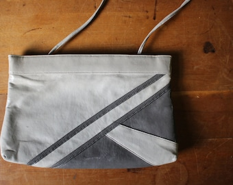 vintage TWO TONE faux leather gray convertible clutch / crossbody purse