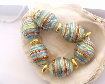6 Golden Striped Beads & 7 Spacers Handmade Lampwork