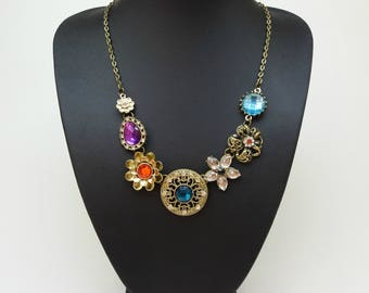 Colorful flower bib statement crystal necklace, Vintage Bronze Noble Hollow Crystal Flower Bib Statement, Flower necklace, Colourful jewelry