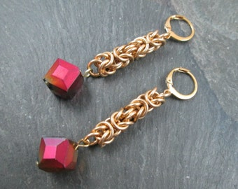Chainmaille Earrings - Brass Byzantine - Chainmail Jewelry - Gold Pink and Orange - Byzantine Wedding Earrings - Prom Earrings