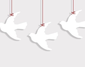 PDF 1 and 2  inch Flying Dove Bird Shape