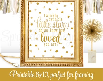 Twinkle Little Star Do You Know How Loved You Are - Printable Boy Girl Nursery Art Baby Shower Birthday Decoration Sign - White Gold Glitter