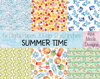 Summer Time digital papers - Hand drawn watercolor digital papers, perfect for scrapbooks,digital projects,planners,craft projects