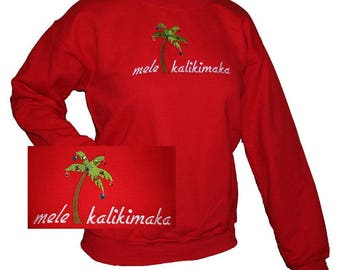 Red Mele Kalikimaka Sweatshirt with Rhinestones Christmas Shirt