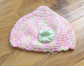Toddler girls Springtime Easter Beanie Hat Pastel Pink with Green Flower Crocheted Handmade New Ready to Ship  Night and Day Crochet