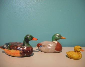 Ceramic Pottery Ducks Duckling Mallard Vintage Cabin Lake / One is Enesco
