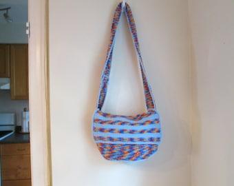 Striped Flap Messenger Bag