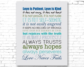 CORINTHIANS Biblical Passage | Love is Patient, Love is Kind | PRINTABLE Artwork | DIY | Grey, Blue, Green, Teal, Black