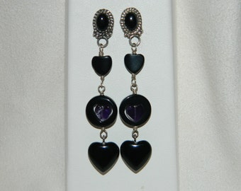 Black Onyx and Amethyst Hearts Dangle Post Earrings Sterling Silver