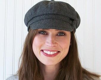 Gray Wool Herringbone Newsboy Cap, Womens Newsboy Hat, Womens Hat, M