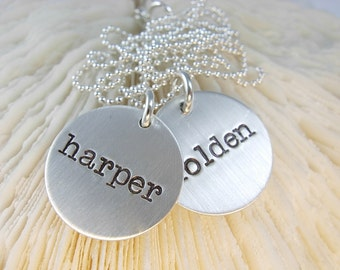 Mommy Hand Stamped Jewelry - Engraved Name Necklace