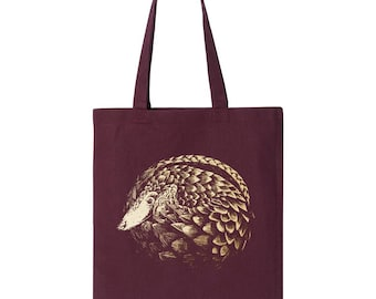 Pangolin Tote Bag, 10% Donated to Animal Causes, Reusable Grocery Bag, Conservation Shopping Bag, Pangolin Gift
