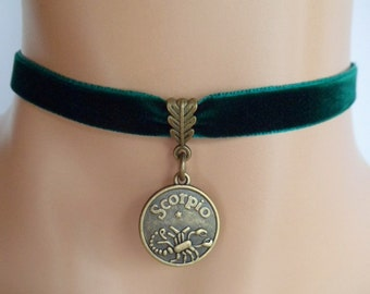 green velvet choker, scorpio choker, scorpio necklace, zodiac charm, antique bronze