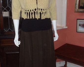 SALE - Plus Size Brown Herringbone Skirt Size UK 22/24