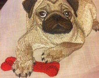 Pug Embroidery Painting of Your Pet in Embroidery