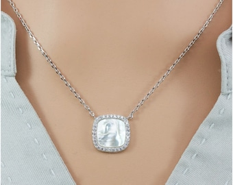 Mother-of-Pearl with Fine Quality Cubic Zirconia Sterling Silver Necklace, Anniversary Gift, Birthday Gift