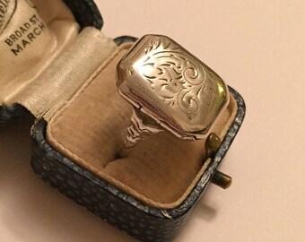 Poison Ring, Locket Ring, Silver Poison Ring, Silver Locket Ring, Sterling Silver, Silver 925 Ring, Engraved Poison Ring,  Rare Ring