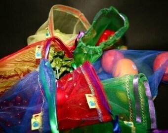12 Giant set Eco rainbows and raspberries reusable produce bag set