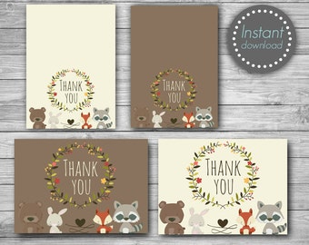 Woodland Thank you cards printable, Woodland thank you tags printable, Woodland Baby shower thank you cards, Birthday thank you cards