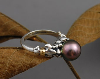 Desiree - tahitian pearl ring, pearl engagement ring, pearl wedding ring, large pearl ring, fleur de lis ring, statement ring, rare color