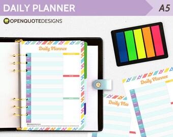 A5 Filofax Printable Daily Planner, A5 Planner, Daily Agenda Schedule, Printable Planner, A5 Filofax Insert, Filofax Planner