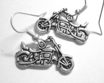 Silver Motorcycle Earrings - Motorcycle Jewelry - Rocker Chic Jewelry - 139