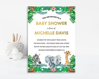 Safari Baby Shower Invitation, Jungle Baby Shower Invitation, Baby Shower Invite, Safari Invitation, Jungle Invitation, Printable Invitation