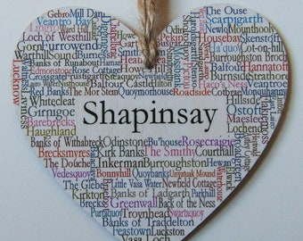 Shapinsay Hanging Heart Decoration, 10cm wide wooden Heart, Shapinsay Orkney Islands.