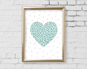 Heart Art Print, Mint heart Polka dot Art Print, 11 x 14 inches, Heart wall art, Nursery Print, Kids Room, Instant Download Digital File 185