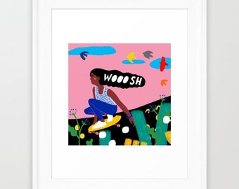Art Print of an Original Illustration -WOOOSH Skater Girl - limited edition