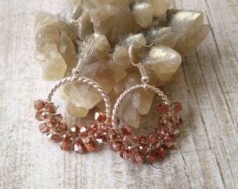 Rose gold earrings, Rose gold hoop earrings, Rose gold dangle earrings, Rose gold chandelier earrings