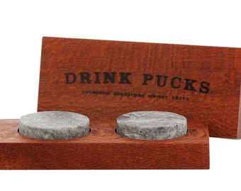 DrinkPucks (×2) in wooden case, whisky rocks, whiskey stones that work!