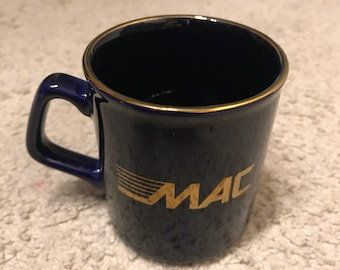Vintage 1980s Mac ATM coffee cup // black with gold rim // money access // star network // mac computers // apple macintosh