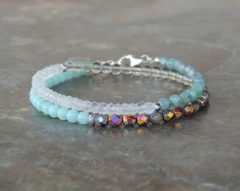 Bohemian Jewelry Gift for Her, Beaded Bracelet, Gemstone Bracelet, Moonstone Bracelet, Wrap Bracelet, Boho Bracelet, Blue Bracelet for Women