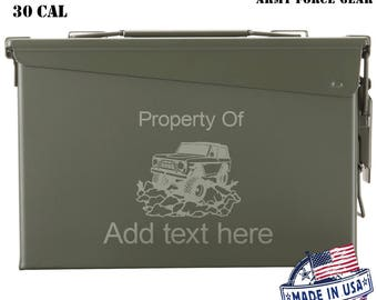 Ford Bronco Custom Engraved 30/50 Cal Ammo Can Personalized Dad Gift Cool Guy Gifts Father's Day Gift Grandpa Gift  Groomsmen Hunter