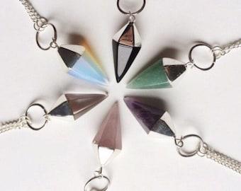 Crystal Pendulum Necklace / Onyx Rose Quartz Clear Quartz Aventurine Pendant Necklace / Gemstone Genuine Handmade Jewelry
