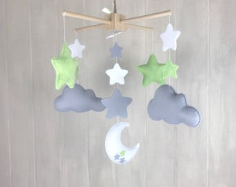 Moon mobile - moon and stars - cloud mobile - stars mobile - baby mobile - baby crib mobile - nursery decor - gender neutral