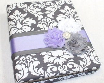 Baby Journal, Baby Book, Baby Memory Book, Baby Milestone Book, Baby Girl Journal, Lavender and Gray, Gray Damask baby Book, Guest Book