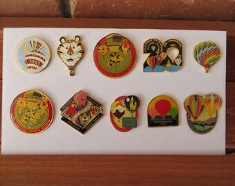 Balloon Fiesta Lapel Pins, Albuquerque, NM, 10 Vintage Pins in all